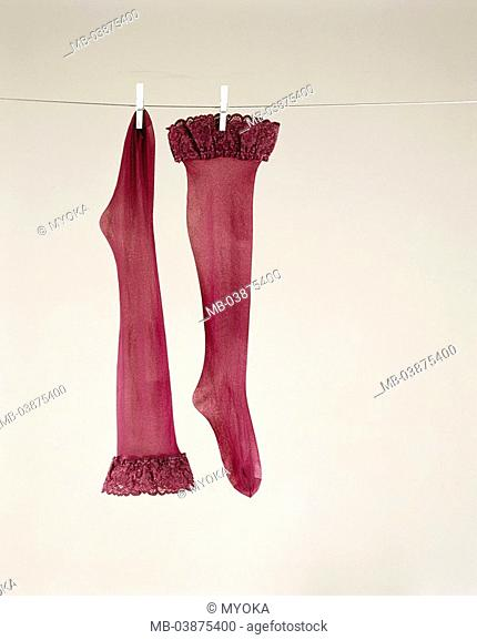 Clothes line, lady-stockings, red, rope, laundry, stockings, nylon, nylon-stockings, silk-stockings, top, two, lady-clothing, Retro, sexy, clothes pins, hangs