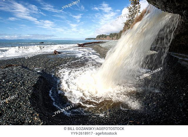 Waterfall at Sandcut Beach - Sooke, Vancouver Island, British Columbia, Canada