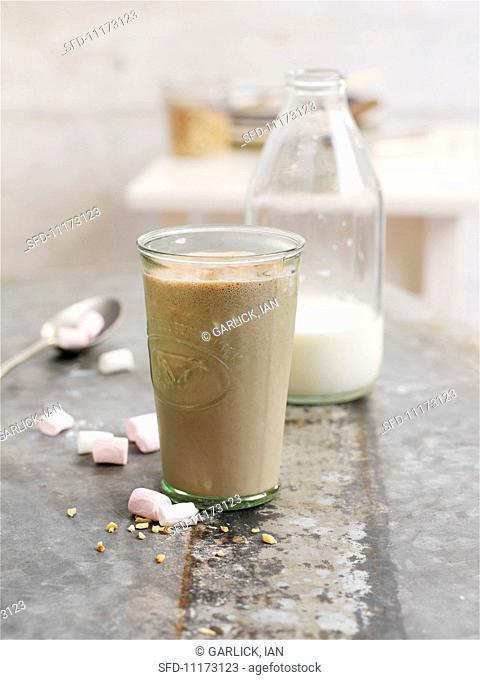 A chocolate and hazelnut shake with marshmallows