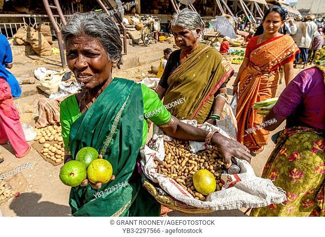 Local Women Selling Vegetables At A Street Market, Bangalore, Karnataka, India