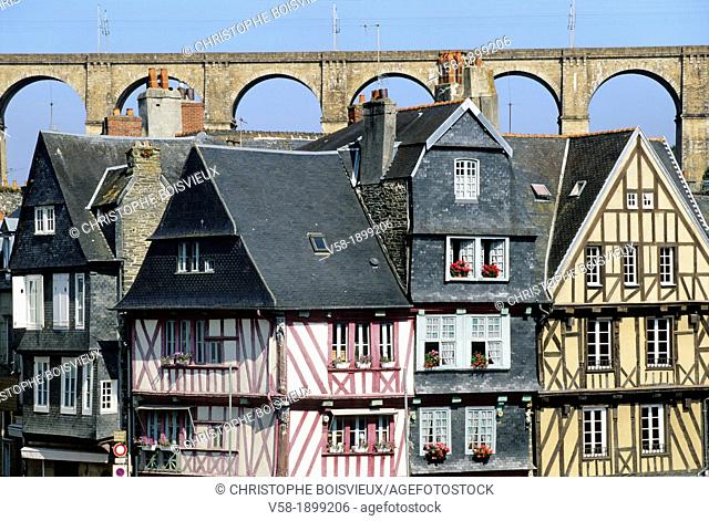 France, Brittany, Finistere, Morlaix, Old town and viaduct
