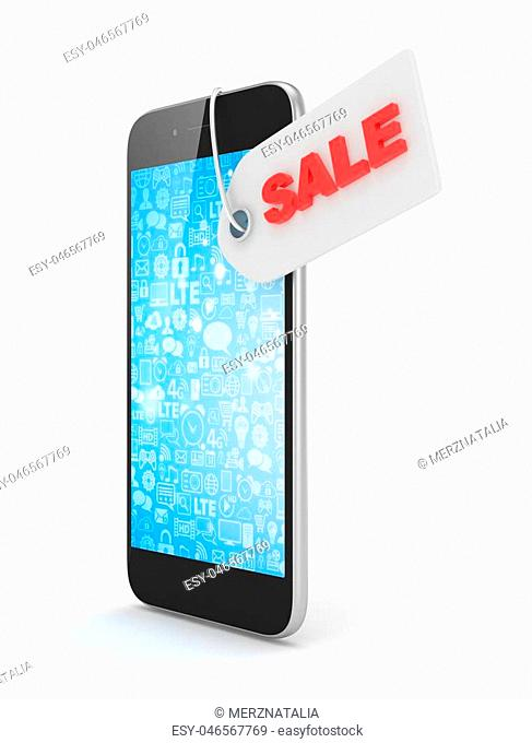 Smart phone with red sale label on white background. Best offer. Leader of sales. 3D rendering