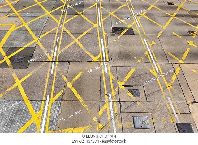 Asphalt road junction in city