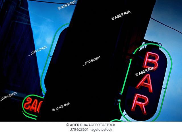 Bar sign. Madrid. Spain