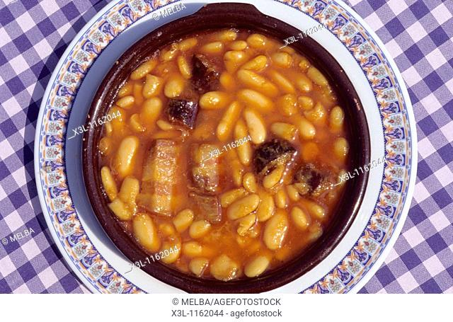 Asturian stew made of beans, pork sausage and bacon Asturias Spain Typical food
