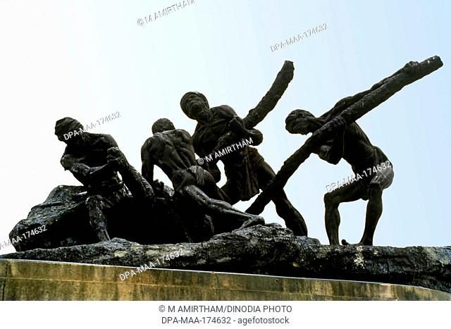 Triumph of labour statue , Marina Beach Road , Madras Chennai , Tamil Nadu , India
