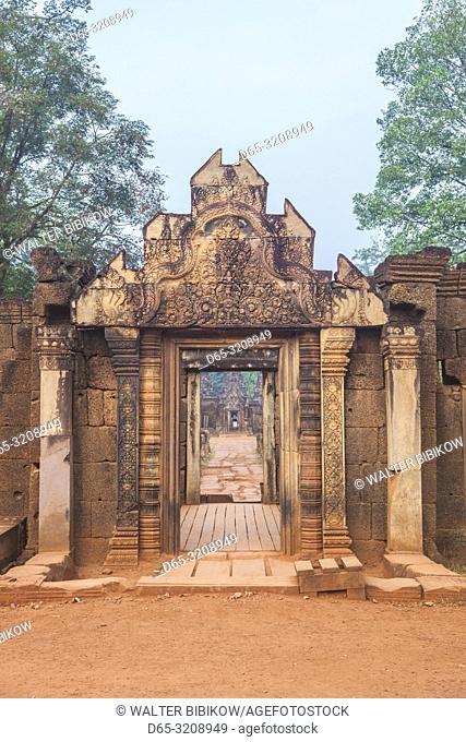 Cambodia, Angkor, Banteay Srei Temple, eastern entrance