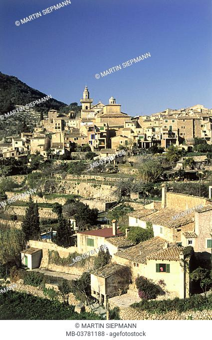 Spain, Majorca, Valldemossa, skyline, church,  , island, northwest, place, residences, Houses, style, regional-typically, parish church, sight, destination