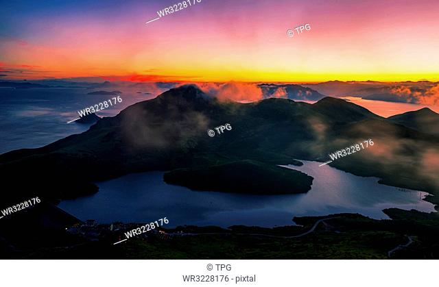 Sunset on Yushan Island;China