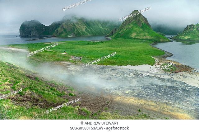 Volcanic Caldera, Geothermal landscape, sulphur cloud Yankicha Island, Bering Sea, Russia, Asia