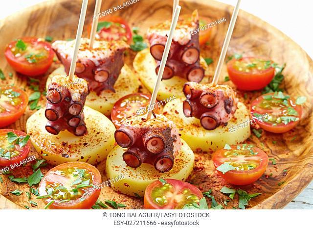 Galician Octopus a la Gallega tapas pinchos recipe from Spain with potatoes