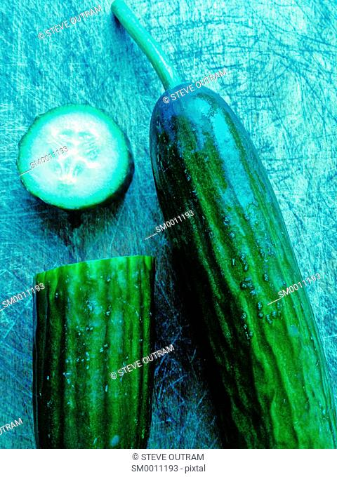 Cucumbers on a Chopping Board, Crete, Greece