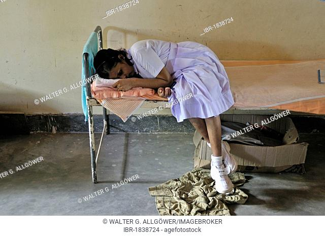 Sick girl, girls' dormitory, school for the blind, Tangalle, Sri Lanka, Ceylon, South Asia, Asia