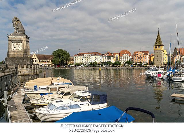 old town, harbour and tower Mangenturm in Lindau, Bavaria, Germany