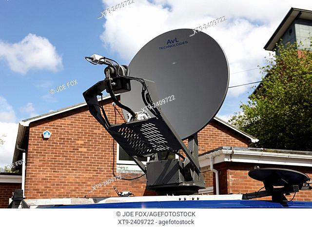 satellite news uplink on vehicle in city centre Preston England UK