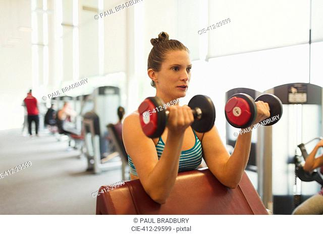 Focused woman doing dumbbell biceps curls at gym