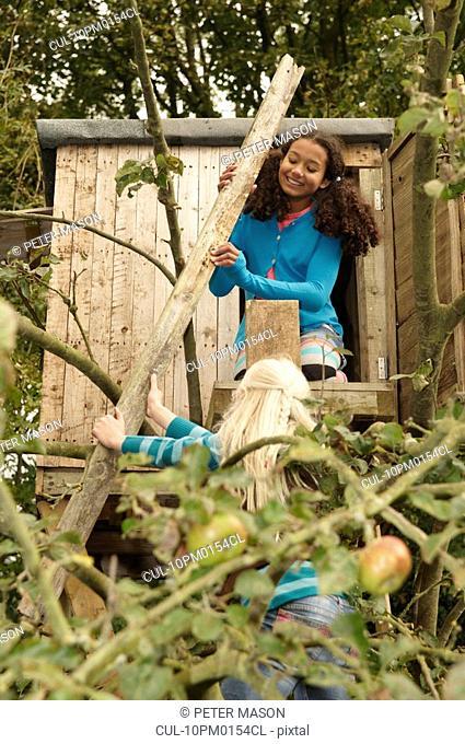 Girls mending treehouse