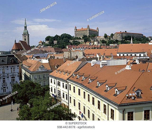 Old City Rooftops and Castle, Bratislavia, Slovakia