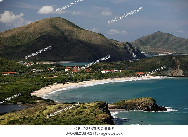The coastal scenery with Pedro Gonzalez with the beaches Playa Guayacan and Playa Puerto Viejo in the Caribbean coast of Pampatar on the island Margarita