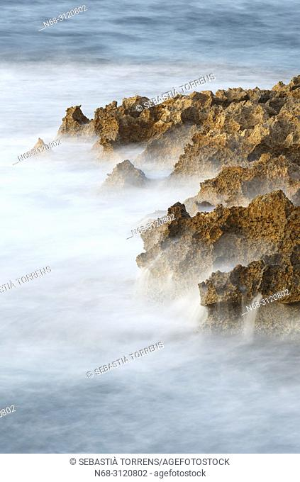 Long exposure, rocks and water, Alcudia, Majorca, Balearic Islands, Spain