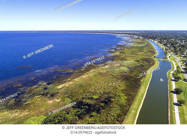 Florida, Saint St. Cloud, East Lake Tohopekaliga, Lakefront Park, water, aerial overhead bird's eye view above