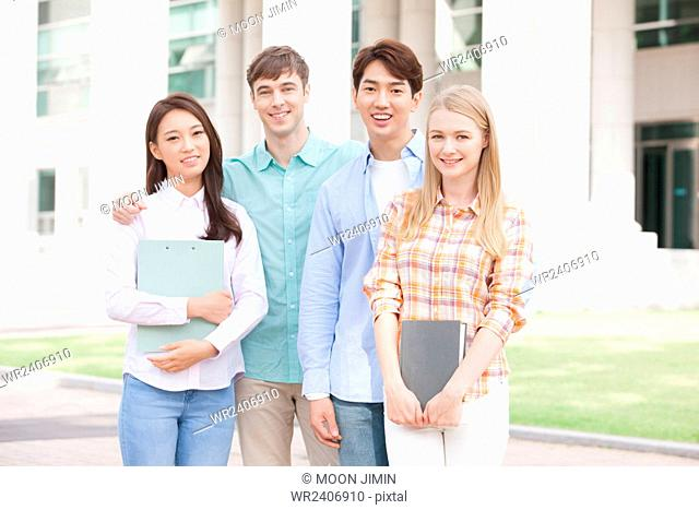 Domestic students and international students in college together on campus
