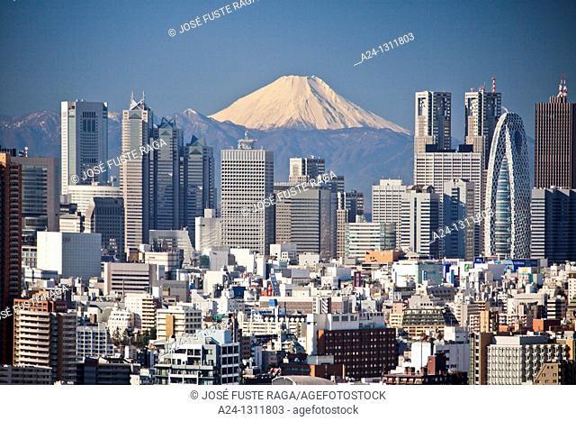 Shinjuku district and Mount Fuji, Tokyo, Japan