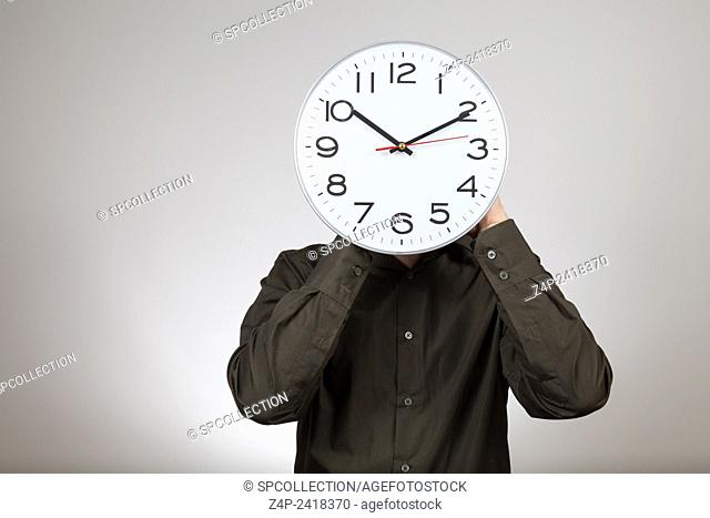 man with clock head