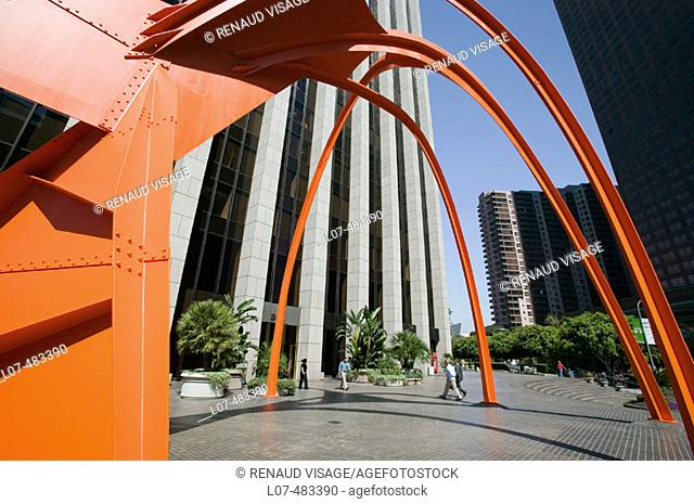 Modern sculpture outside a high-rise office building. Downtown Los Angeles. California. United States
