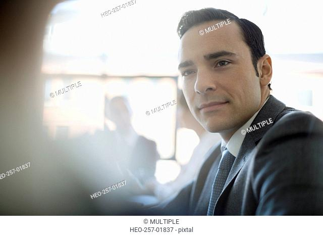 Close up attentive businessman listening
