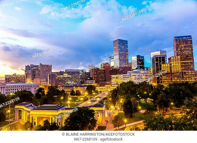 Downtown skyline with Civic Center Park in foreground, Denver, Colorado USA