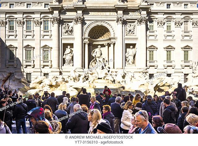 Crowds of tourists at Trevi Fountain (Fontana di Trevi) in Rome, Lazio, Italy