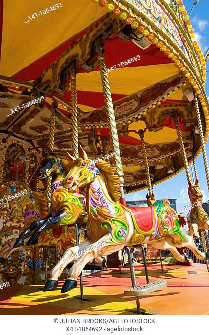 Details of a traditional carousel in Bournemouth, UK
