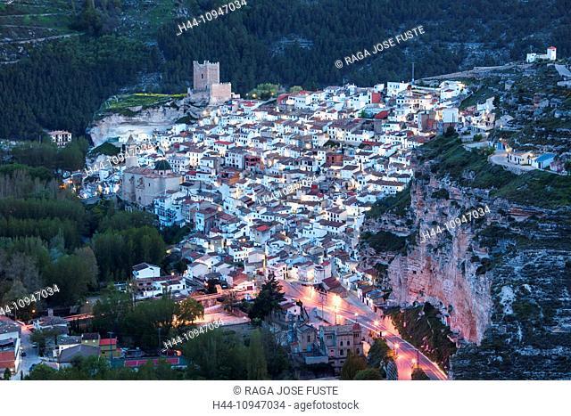 Spain, Europe, Castilla La Mancha, Castile La Mancha, Region, Albacete, Province, Alcala del Jucar, City, architecture, bend, castle, colourful, erosion