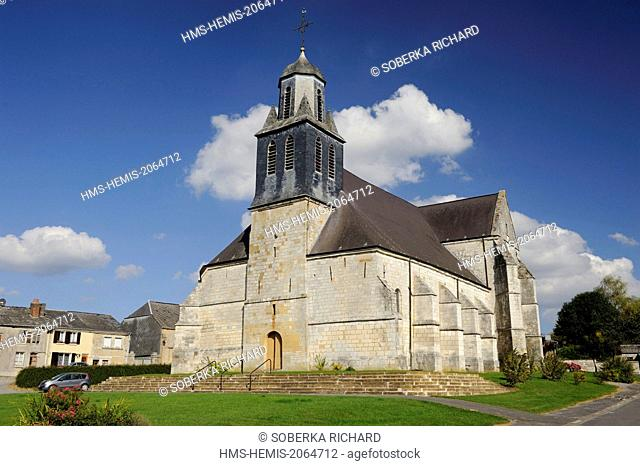 France, Ardennes, Launois sur Vence, Saint Etienne church, bell tower seen from the side
