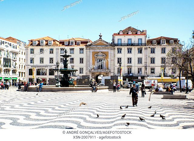 Pedro IV Square best known as Rossio Square, Lisbon, Portugal, Europe