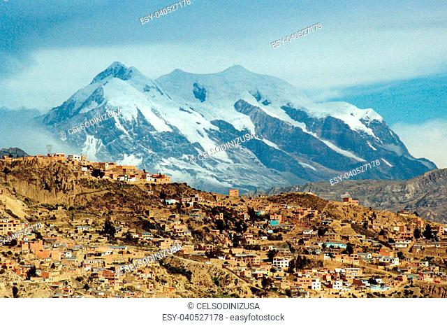 The city of La Paz in Bolivia and the Illimani mountain in the background