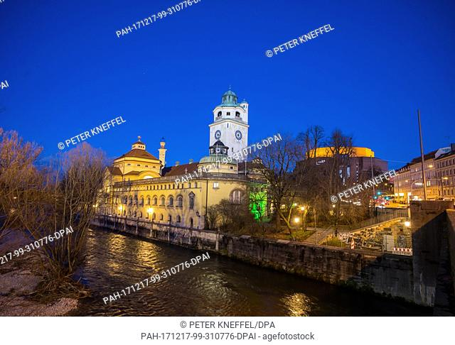 Picture of the Mullersches Volksbad pool on the shores of the Isar river, taken during the blue hour in Munich, Germany, 15 December 2017