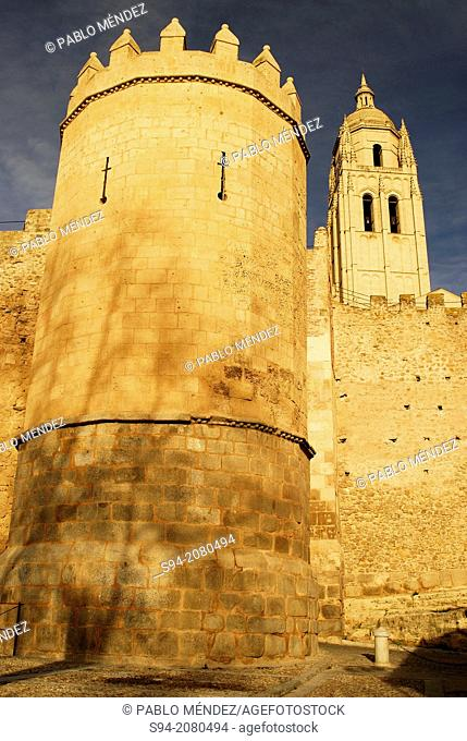 Gothic cathedral and walls of Segovia, Spain