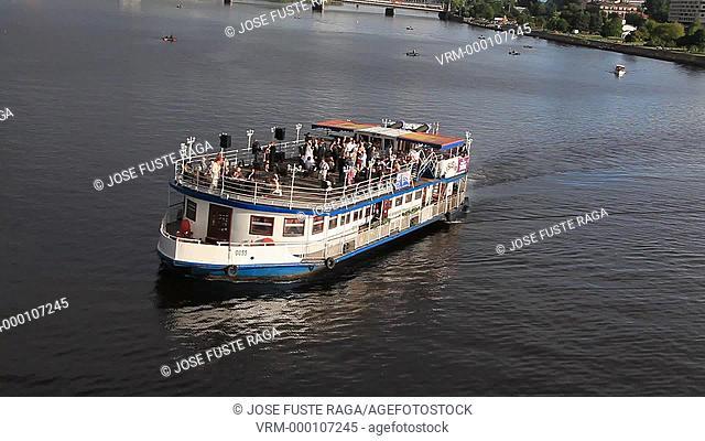 Letonia, Riga City,Wedding celebration on a boat and Riga City Skyline