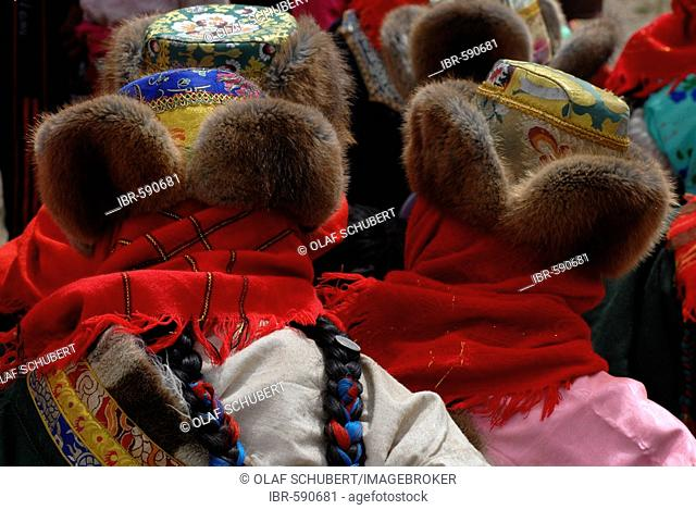 Tibetan women wearing national costume for the nomadic horse-riding festival at Mount Kailash, Dachen, Western Tibet, Ngari Province, Tibet (China), Asia