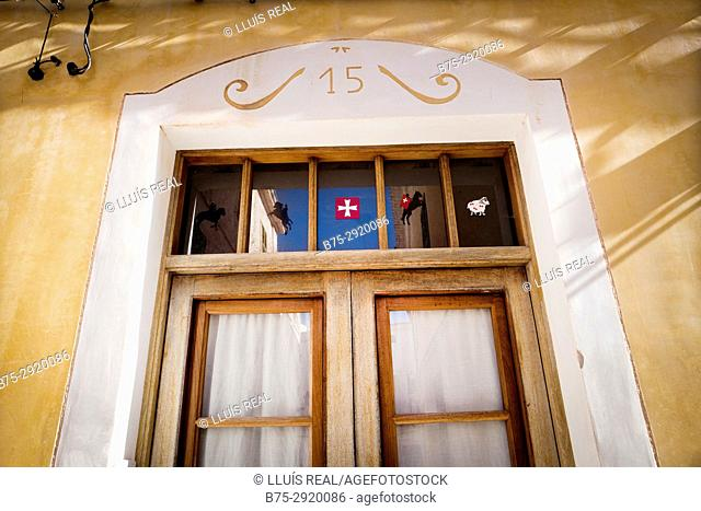 Typical door, Ciutadella, Minorca, Balearic Islands, Spain