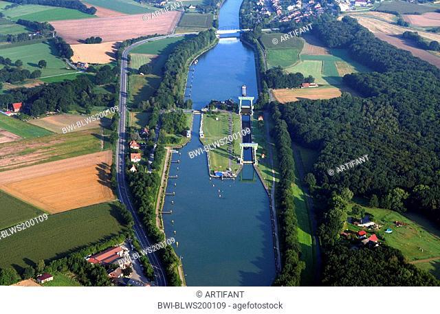 Wesel-Datteln Canal lock , Germany, North Rhine-Westphalia, Ruhr Area, Datteln