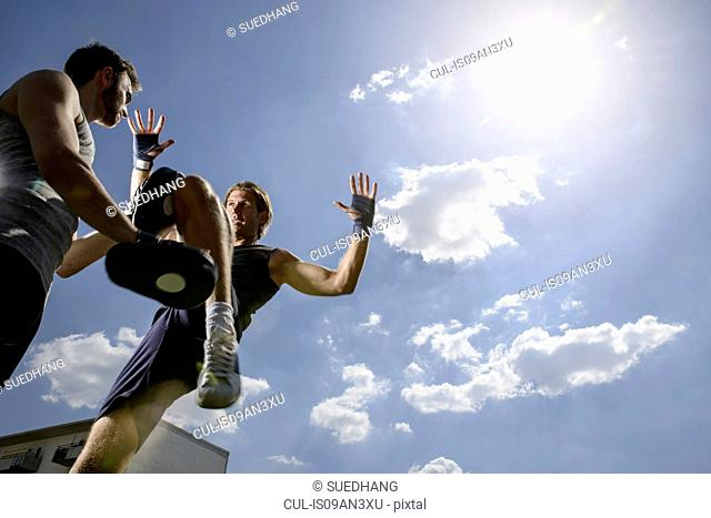 Male kick boxer training with personal trainer in park
