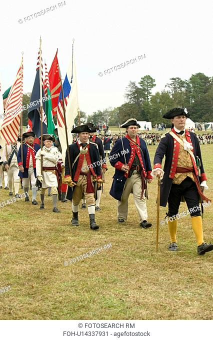 Regimental flag procession at the 225th Anniversary of the Victory at Yorktown, a reenactment of the siege of Yorktown, where General George Washington...