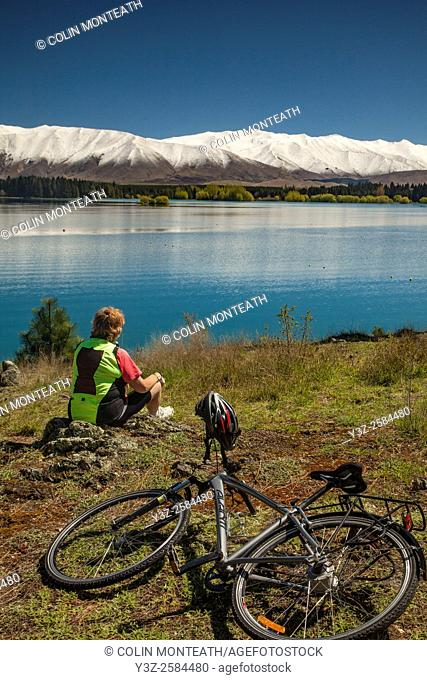 Alps to Ocean Cycle Trail, Cyclist enjoys spring conditions on back roads behind Twizel, Mackenzie country, Canterbury, New Zealand