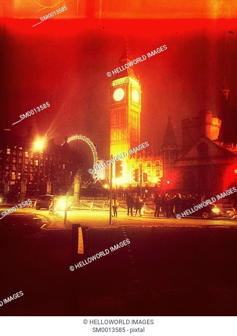 Parliament Square at night, London, England