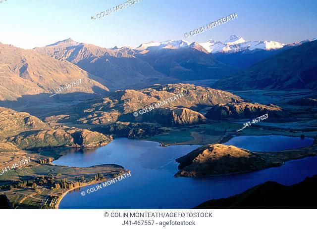 Glendu Bay from Mt. Roy. Mt. Aspiring behind. Above Lake Wanaka, central Otago. New Zealand