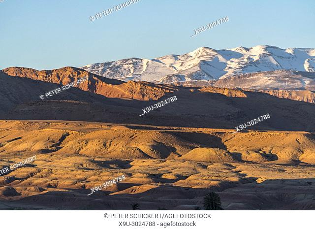 Snow capped High Atlas Mountain Range near Ait-Ben-Haddou, Kingdom of Morocco, Africa