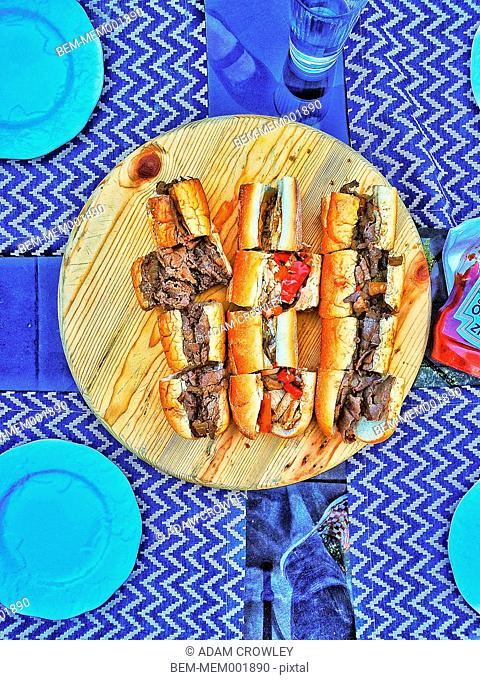 Sandwich slices on board